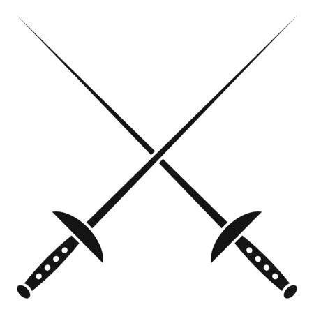 Icône d'épée d'escrime croisée. Simple illustration de l'épée d'escrime croisée icône vecteur pour la conception web isolé sur fond blanc
