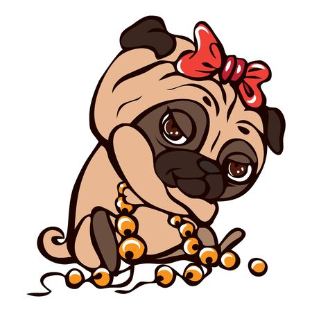 Pug girl icon. Cartoon of pug girl vector icon for web design isolated on white background Stock Illustratie