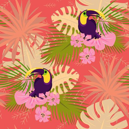 Toucan pattern. Cartoon illustration of toucan vector pattern for web design