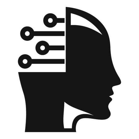 Smart ai head icon. Simple illustration of smart ai head vector icon for web design isolated on white background Иллюстрация
