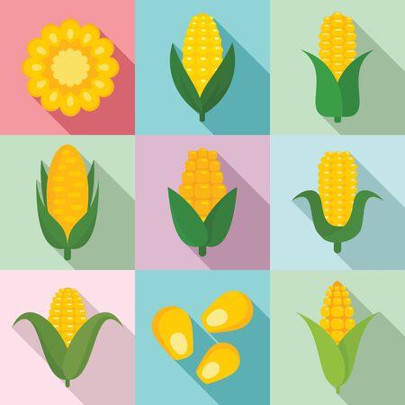 Corn icons set, flat style