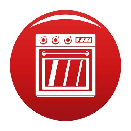 Electric oven icon vector red
