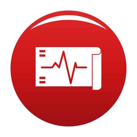 Electrocardiogram icon vector red