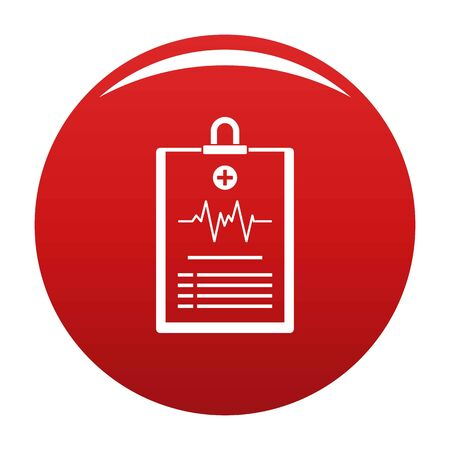 Cardiogram on tablet icon vector red