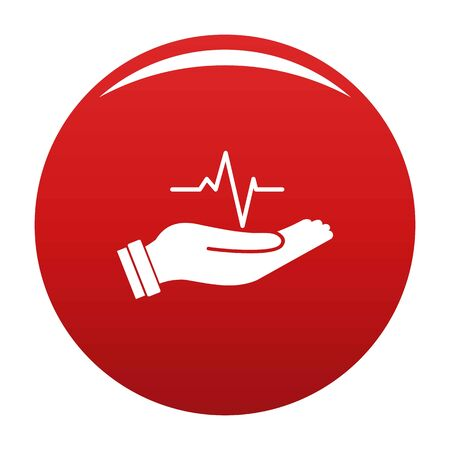 Heartbeat icon vector red