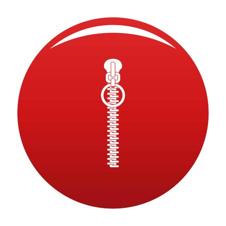 Little zip icon on red background, vector illustration Çizim