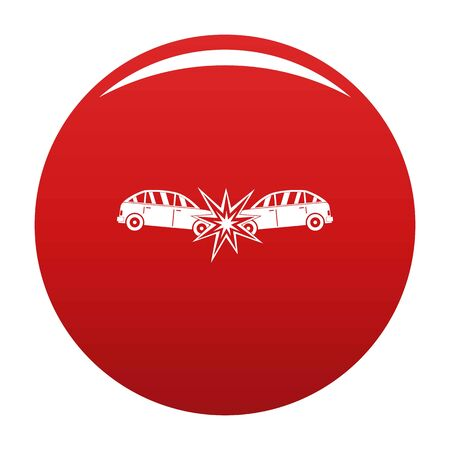 Head collision icon on red background, vector illustration