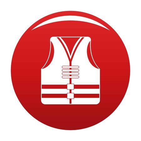 Rescue vest icon on red background, vector illustration Illustration