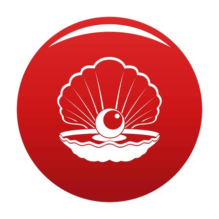 Opened shell icon on red background, vector illustration. Illustration