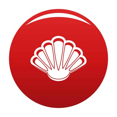 Nice shell icon on red background, vector illustration.