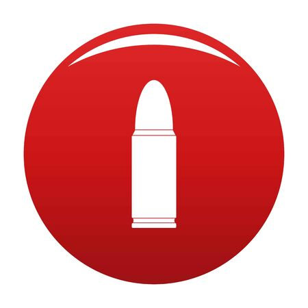 Metal cartridge icon on red background, vector illustration.