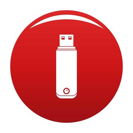 Digital flash drive icon on red background, vector illustration.