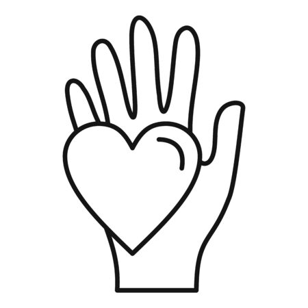 Hand keep heart icon, outline style Stock Illustratie