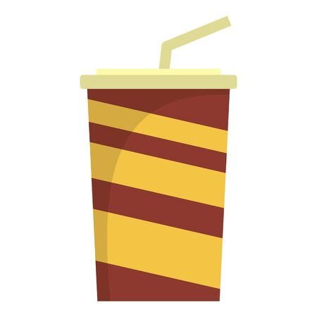Paper cola cup icon, flat style