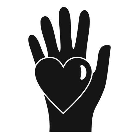Hand keep heart icon, simple style Illusztráció
