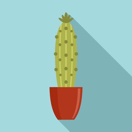 Cactus pot icon, flat style