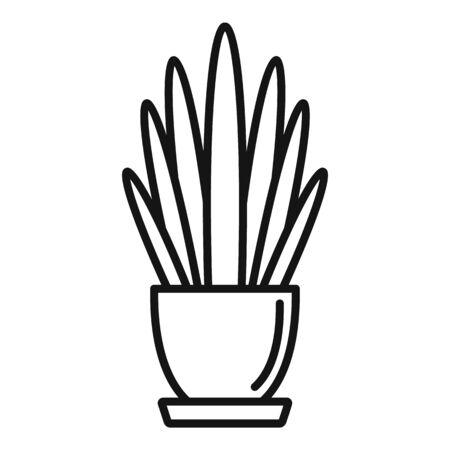 Long high leaf houseplant icon, outline style Illustration