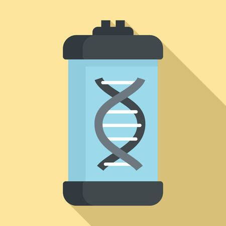 Dna molecule capsule icon, flat style