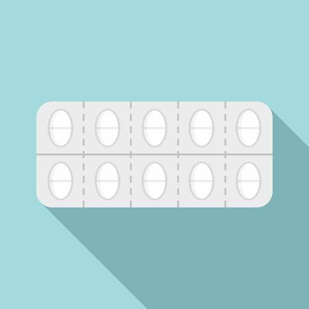 Pain pill pack icon, flat style Ilustração