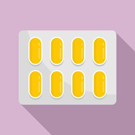 Dietary pills pack icon, flat style Ilustração