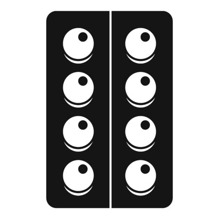 Blister pill icon, simple style