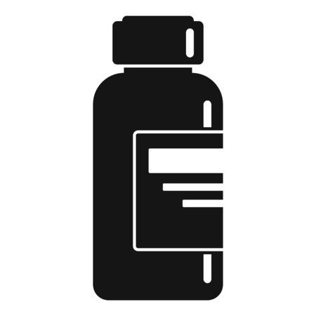 Syringe liquid bottle icon, simple style
