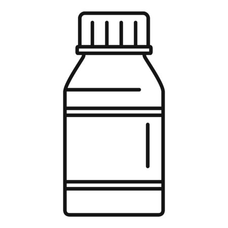 Vitamin pill jar icon, outline style Ilustração