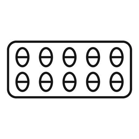 Pain pill pack icon, outline style Ilustração