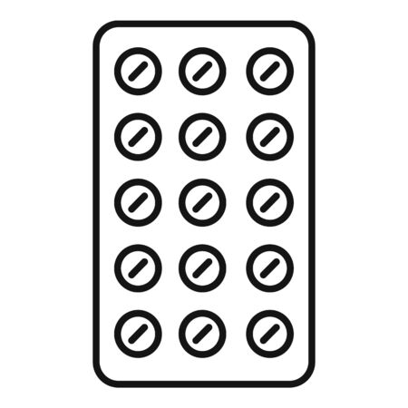 Treatment pills pack icon, outline style