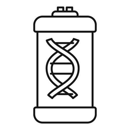 Dna molecule capsule icon, outline style Ilustração