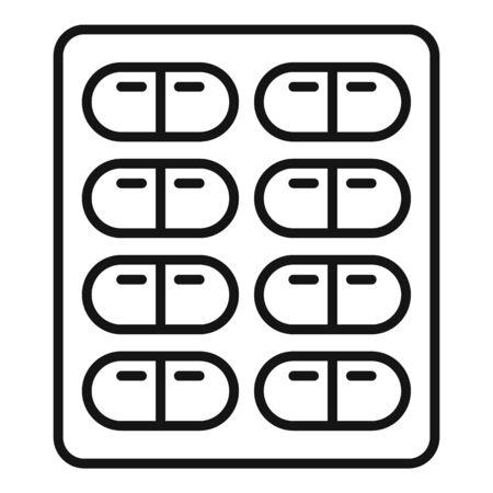 Capsule pack icon, outline style Ilustração