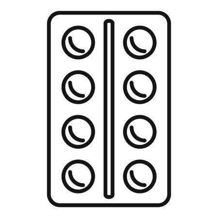 Blister pill icon, outline style Ilustração