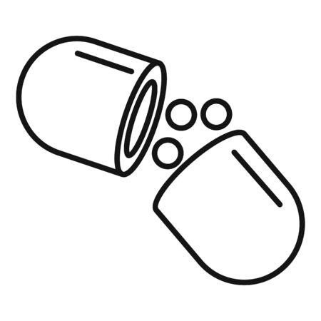 Medical capsule icon, outline style Ilustração