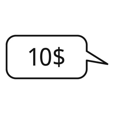 Ten dollar price icon, outline style