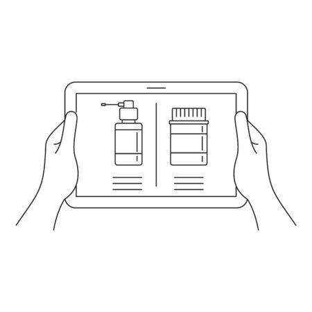 Online pharmacy on tablet icon, outline style Ilustração
