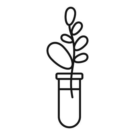 Gmo plant tube icon, outline style Ilustração