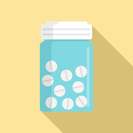 Antibiotic pills icon, flat style Ilustração