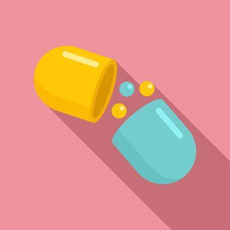 Medical capsule icon, flat style