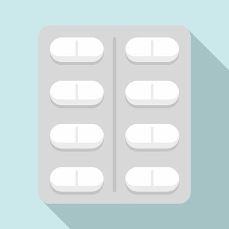 Capsule pack icon, flat style