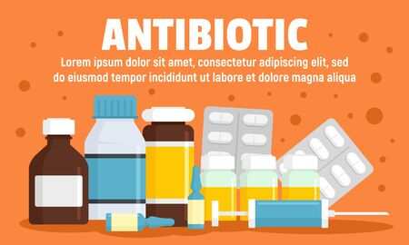 Modern antibiotic concept banner, flat style Illustration