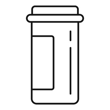 Plastic pill jar icon, outline style
