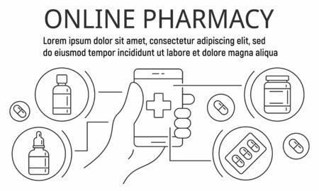 Online pharmacy city banner, outline style Ilustração