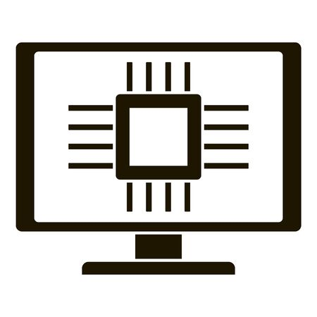 Smart computer processor icon, simple style