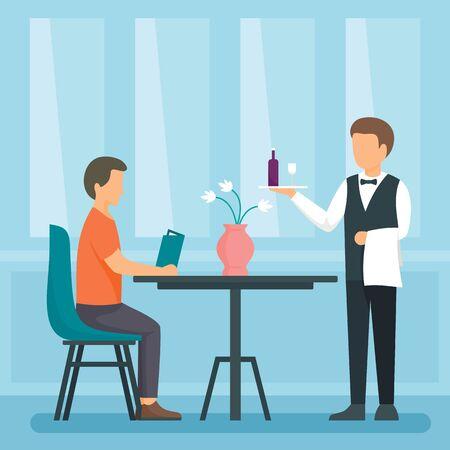 Waiter concept background, flat style Ilustrace