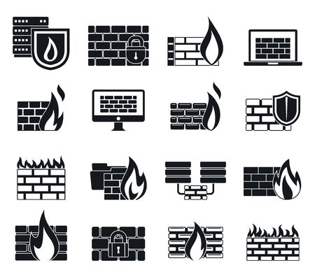 Firewall data icons set, simple style
