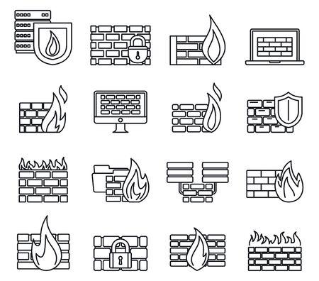 Firewall server icons set, outline style Ilustração