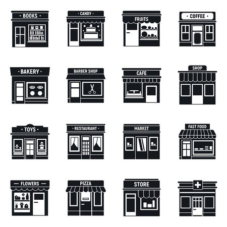 Local business shop icons set, simple style
