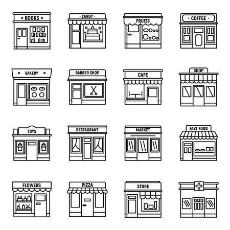 Set di icone del negozio di affari locali, stile contorno outline Vettoriali