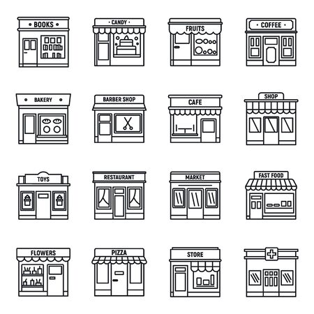 Local business store icons set, outline style