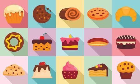Confectionery icons set, flat style